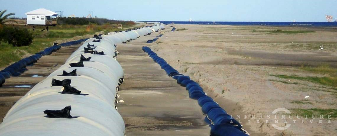 Geotextile tubes installed on a Louisiana beach to prevent erosion