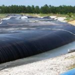 Geotextile tube filled with coal ash