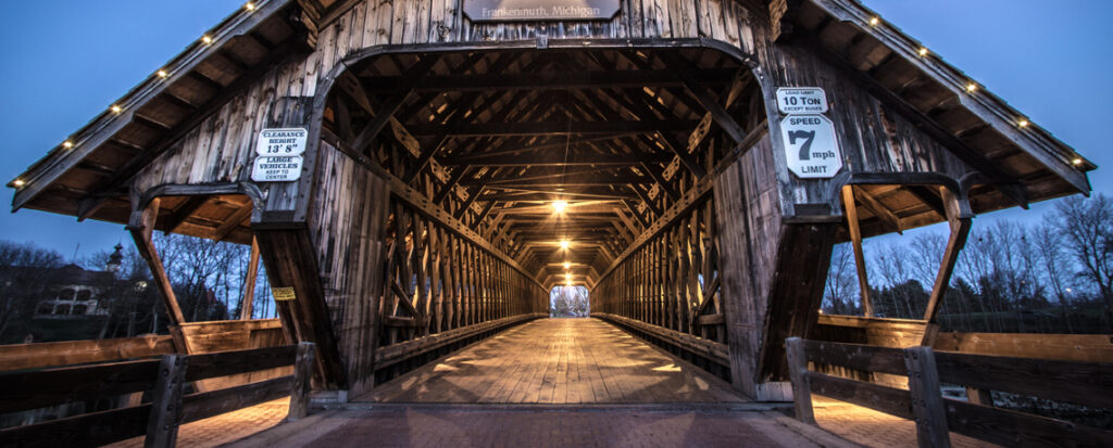 covered bridge over the Cass River in Frankenmuth, Michigan