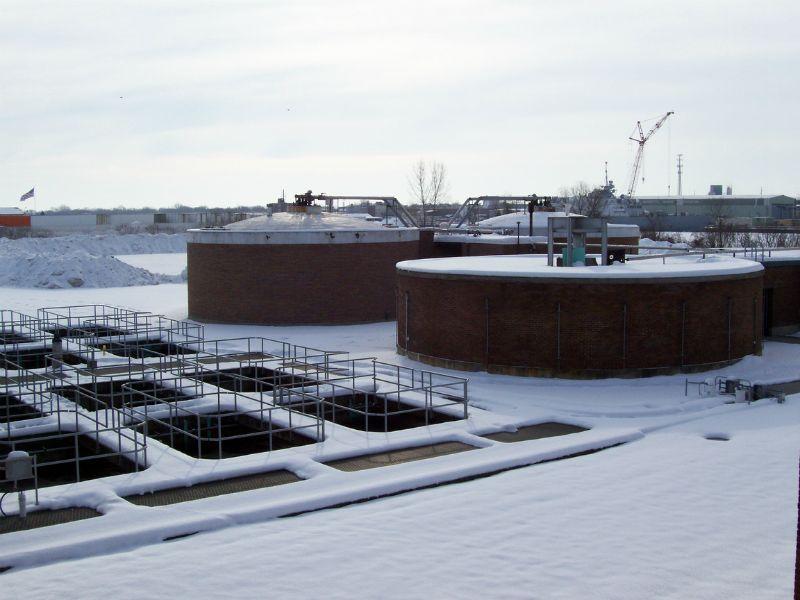 Wastewater plant aeration tanks, sludge digesters and sludge storage tanks