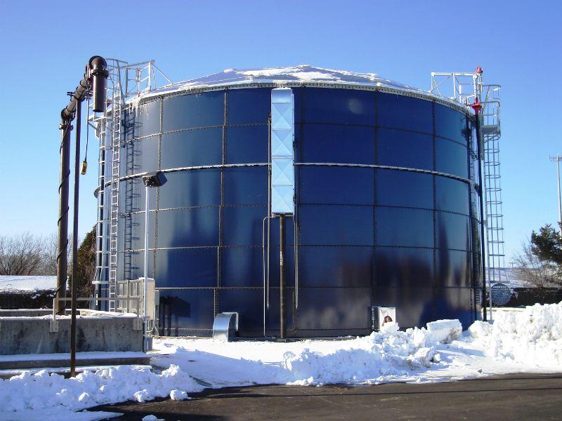 Wastewater treatment plant, new sludge storage tank