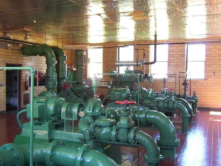 Water treatment plant, pump gallery
