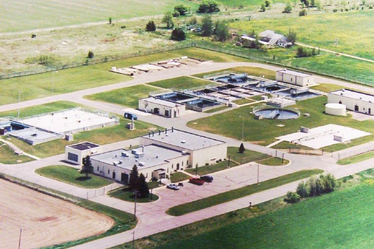 Aerial view of Springbrook Wastewater Treatment Plant