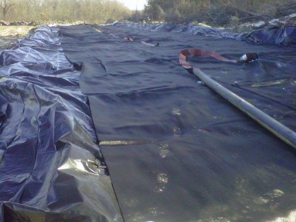 Geotextile tube, ready to be filled