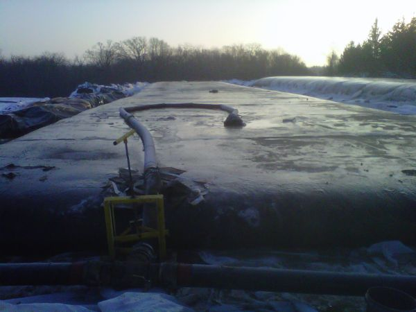 Geotextile tube, dewatering in Minnesota winter weather