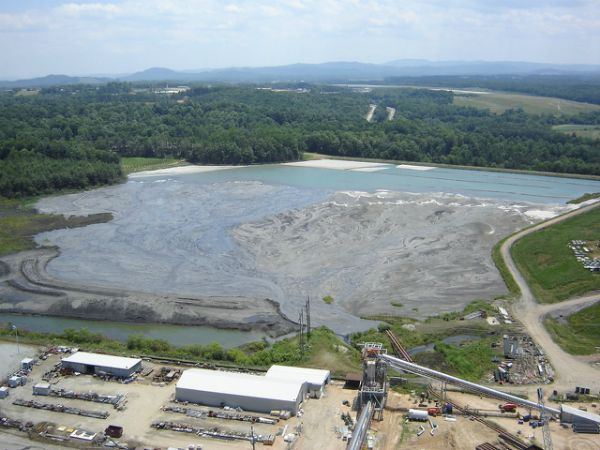 Aerial view of coal ash pond in use