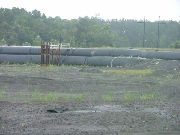 Stacked geotextile tubes filled with coal ash