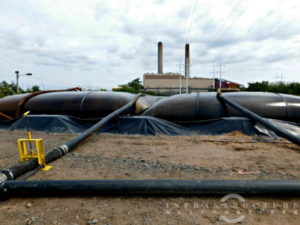 Geotextile tubes and header
