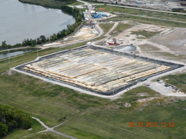 Aerial view of sediment processing operations