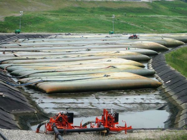 TSCA regulated contaminated sediment in geotextile tubes
