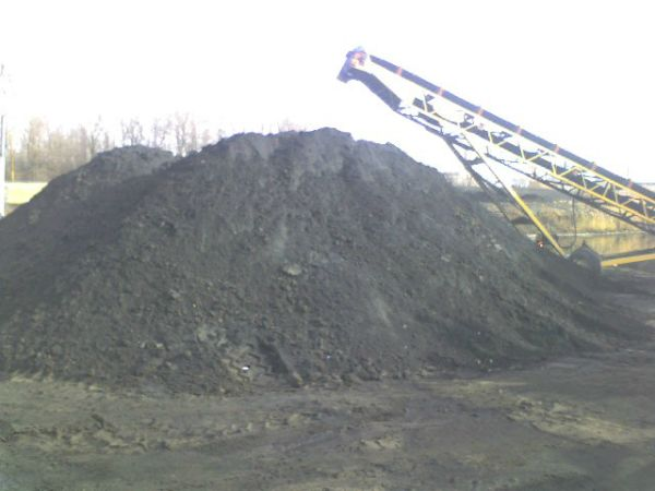 Stockpile of dewatered coal ash