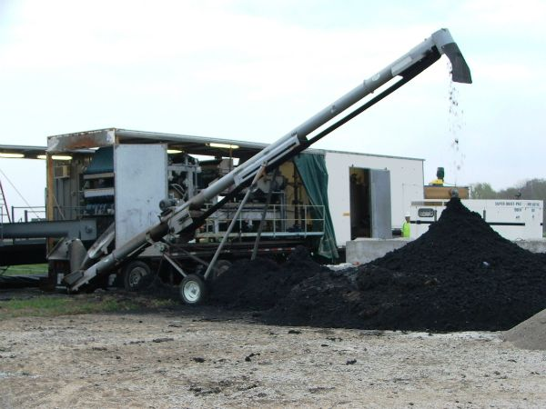 Stockpile of dewatered biosolids