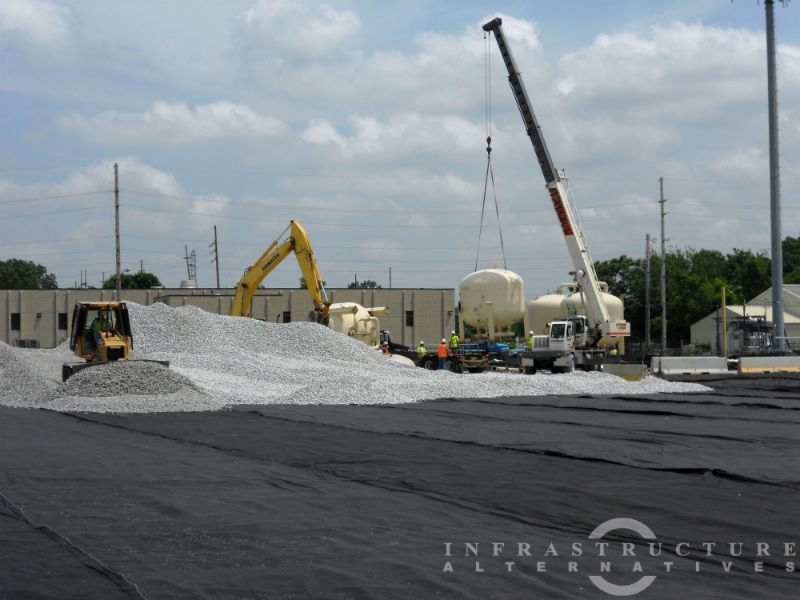 Water treatment plant & dewatering pad construction