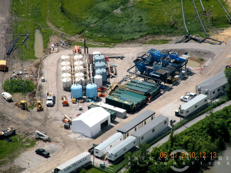 Aerial view of 4,000 gpm water treatment system