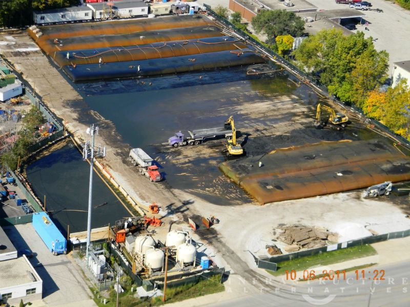 Aerial view of dewatering & water treatment operations