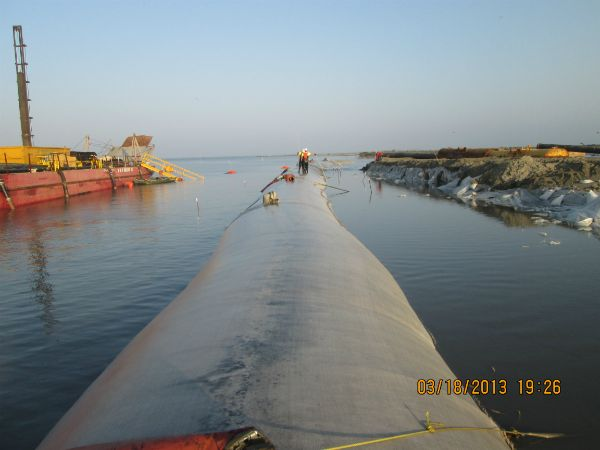 Geotextile tube filled in shallow water