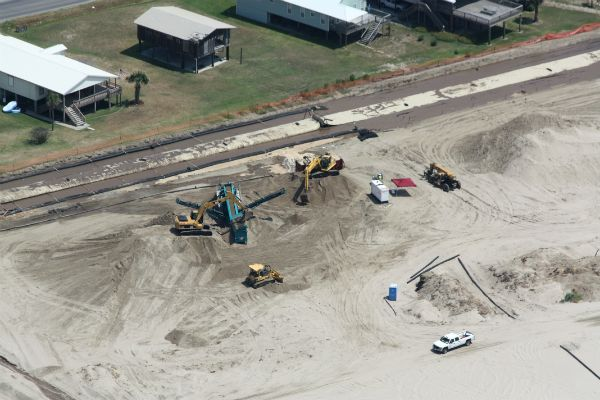 Aerial view of beach & geotextile tube installation