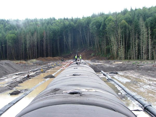 Geotextile tubes, installed to trap sediment
