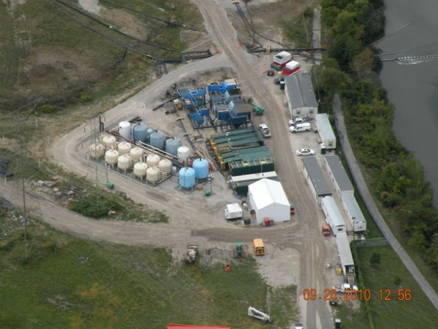 Aerial view of on-site wastewater treatment plant, 09-20-2010