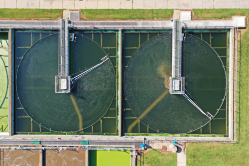 Aerial view of final clarifiers