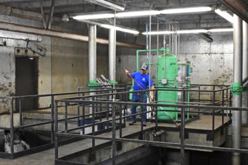 IAI operator at work in the tertiary filter building