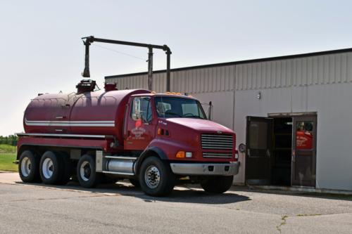 Biosolids hauling truck