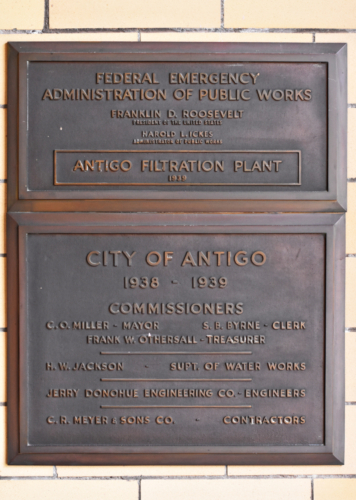 Antigo Water Plant construction plaque