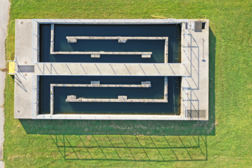 Aerial view of chlorine contact chamber