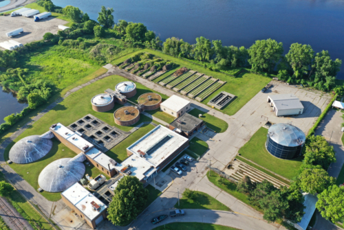 Aerial view of wastewater treatment plant, looking toward the Menominee River