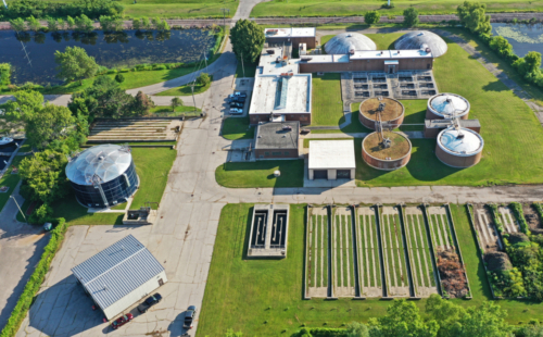 Aerial view of wastewater plant, looking north