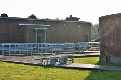 Aeration basins and main treatment plant building