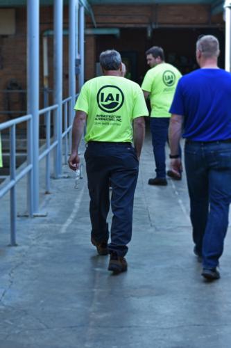 Crew walking through primary clarifier building