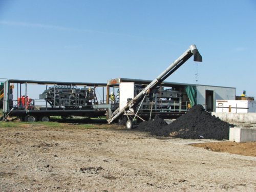 Belt filter dewatering equipment and dewatered biosolids