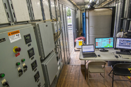 Mobile Water Treatment System clarifier trailer interior