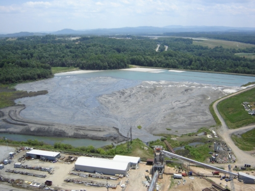 Aerial view of coal ash pond