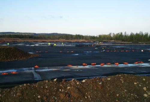 Dewatering pad construction