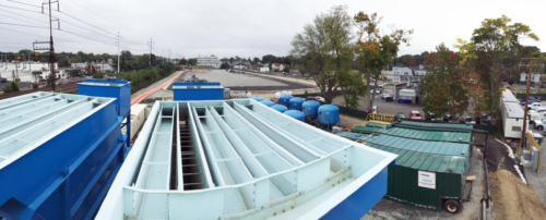 View from the top of the inclined plate clarifiers