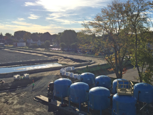 Dewatering pad and water treatment plant during construction