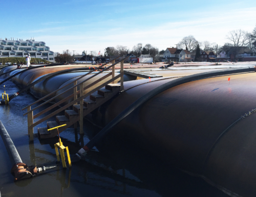 Active geotextile tube dewatering