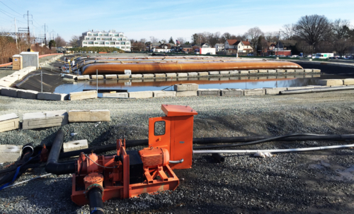 Dewatering pad and sump, during dredging operations