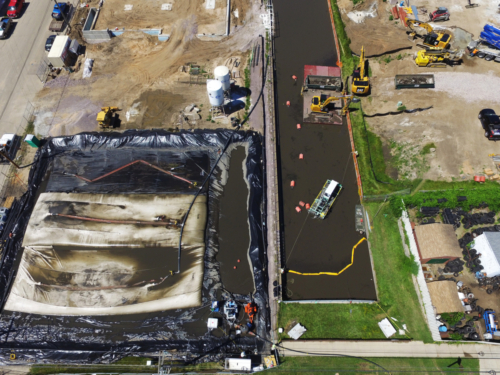 Aerial view of the project site, during dredging operations