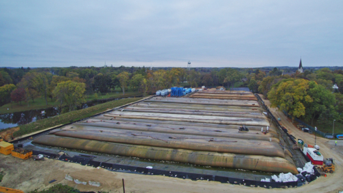 Aerial view of sediment processing area, Oct. 2017