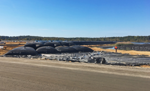 Completed geotextile tube wall