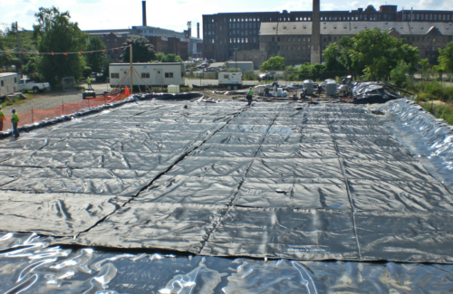 Geotextile tubes deployed prior to startup