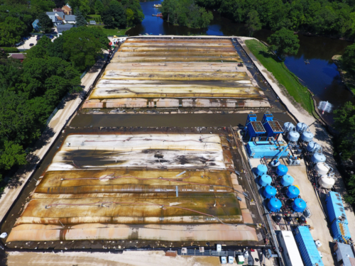 Aerial view of sediment processing area and water treatment plant
