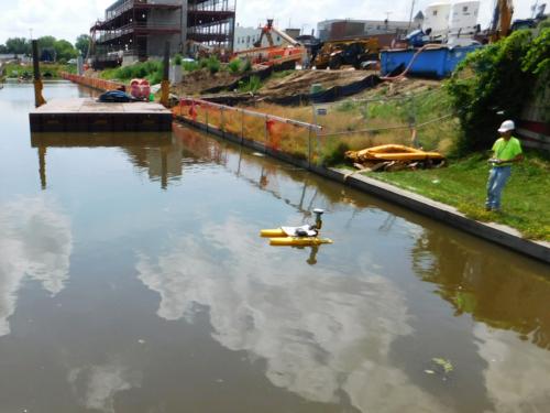Third party post-dredge surveys were performed via remote control survey boat
