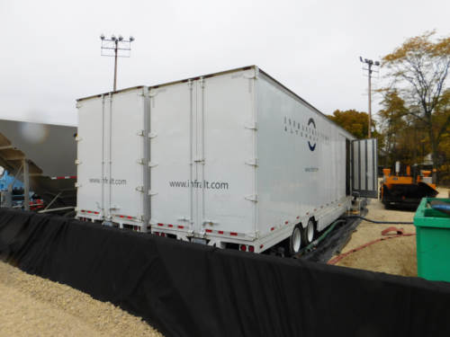IAI's Mobile Water Treatment System during mechanical dredging operations