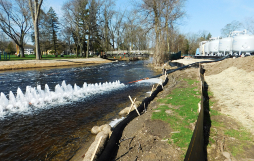 Effluent diffuser discharging into Cedar Creek