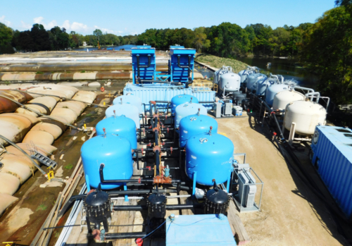 Aerial view of 3,900 gpm water treatment system utilizing during hydraulic dredging operations