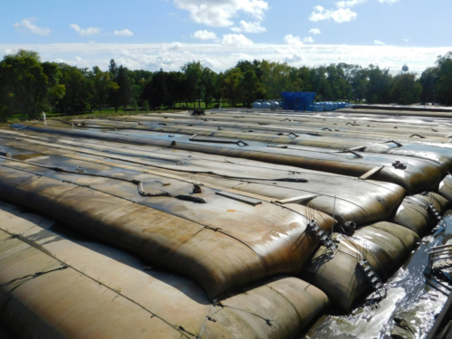 Stacked geotextile tubes in sediment processing area